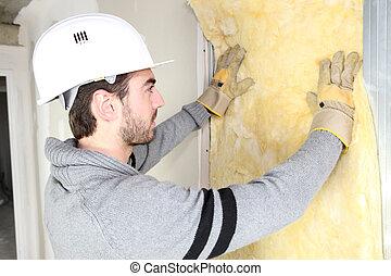 muur, isolatie, installeren, man