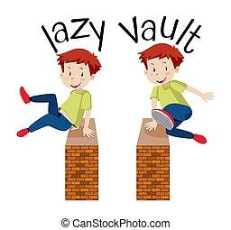muur, jongen, op, springt