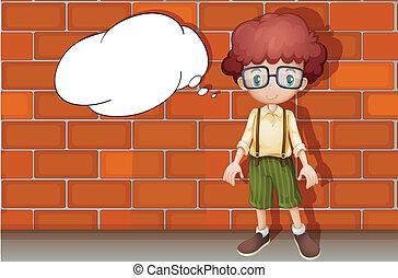 muur, jongen, tegen