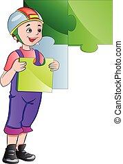 muur, jongen, vervolledigen, illustratie, raadsel