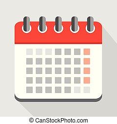 muur kalender, rood, pictogram