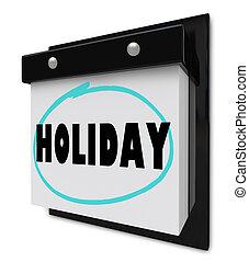 muur kalender, vakantie, woord
