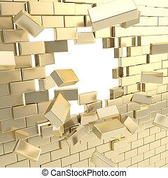 muur, kapot, baksteen, stukken