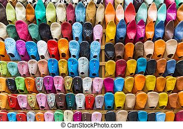 muur, kleurrijke, pantoffel