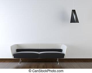 muur, moderne, bankstel, ontwerp, interieur, witte
