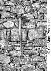 muur, modieus, steen, achtergrond, bijl