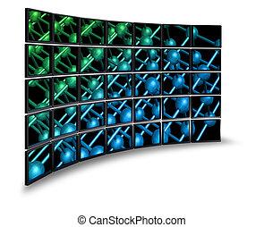 muur, multimedia, monitor