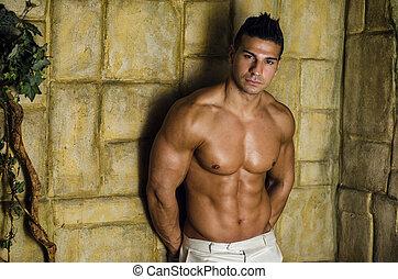 muur, muscleman, aantrekkelijk, tegen, ruige