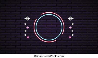 muur, neon, etiket, licht
