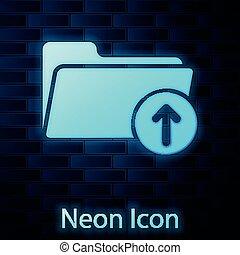 muur, neon, vrijstaand, illustratie, achtergrond., gloeiend, vector, richtingwijzer, downloaden, map, baksteen, pictogram