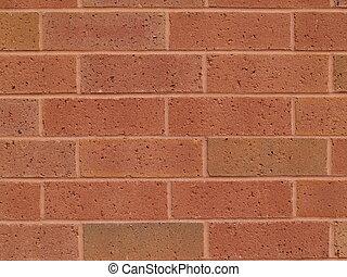 muur, nieuw, baksteen, rood