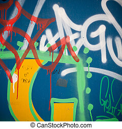 muur, op, beton, graffiti, afsluiten, extreem