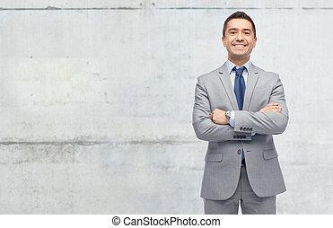 muur, op, beton, kostuum, zakenman, vrolijke