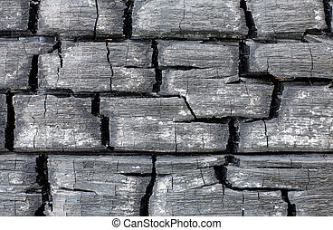 muur, oppervlakte, verkoolde