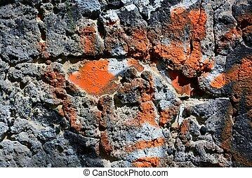 muur, oud, graffiti, kleurrijke