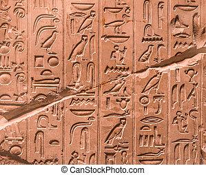 muur, oud, hi?roglieven, egyptisch