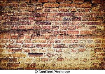 muur, ouderwetse , baksteen, oud, verweerd