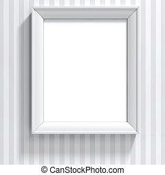 muur, ouderwetse , frame, leeg