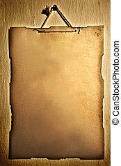 muur, papier, oud, opgeknoopt