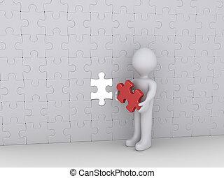 muur, persoon, puzzelstuk, leest