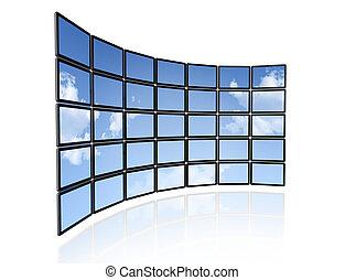 muur, plat, video, schermen, tv