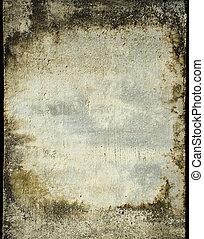 muur, pleister, bevlekte, grunge, frame