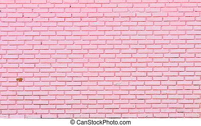 muur, roze, bakstenen