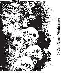 muur, schedels, illustratie