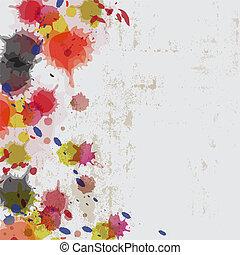 muur, splatter, grunge, inkt