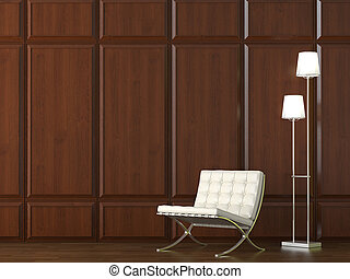 muur, stoel, hout, cladding