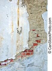 muur, stucco, verweerd