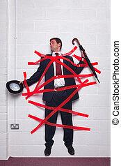 muur, stuck, cassette, rood, zakenman