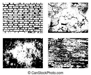 muur, texturen, set, grunge