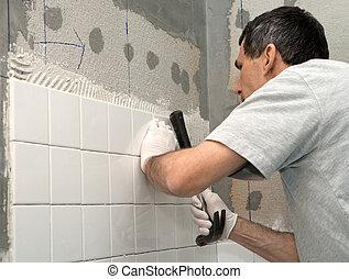 muur, tiling, man