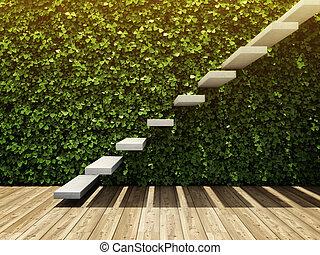 muur, trap, kamer, verticaal, tuin