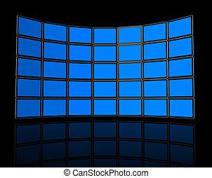 muur, tv, schermen, plat