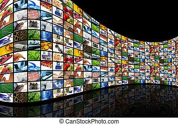 muur, van, schermen