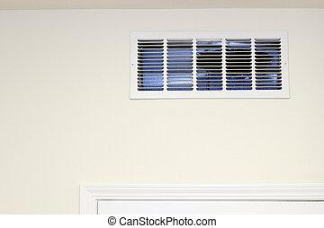 muur, ventilatierooster, opneming, lucht