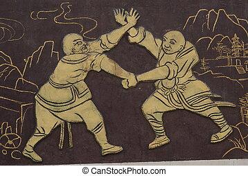 muur, verlangen, van, kung fu, vecht