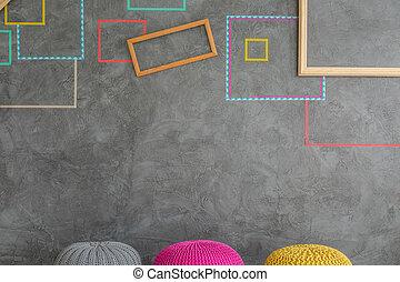 muur, versiering, moderne, ontwerp