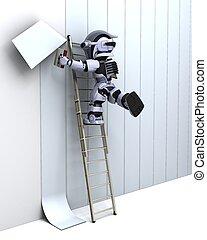 muur, versiering, robot
