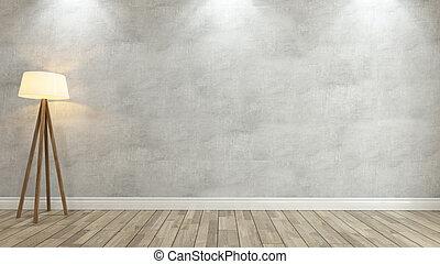 muur, vertolking, beton, 3d, licht