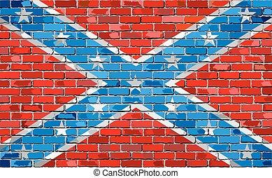 muur, vlag, baksteen, verbonden