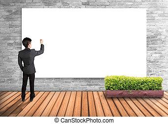 muur, vrijstaand, schrijvende , achtergrond., toekomst, plank, zich voorstellen, zakenman, witte