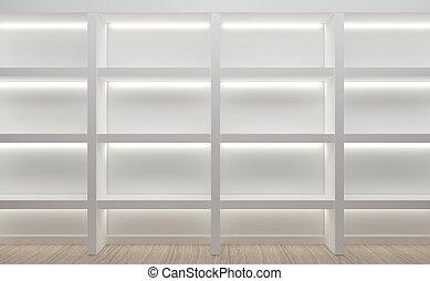 muur, winkel, planken