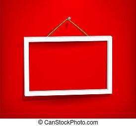 muur, witte , frame