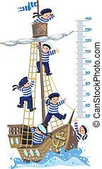 muur, zeelieden, scheeps , meter, vrolijke