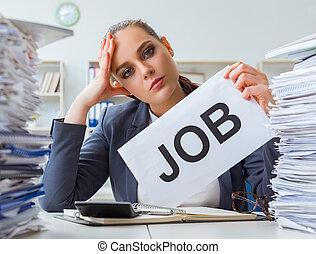 muurkap, businesswoman, workload, niet, aftredend