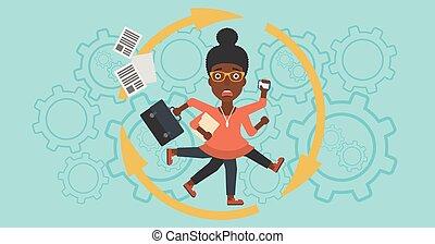muurkap, vrouw zaak, multitasking.