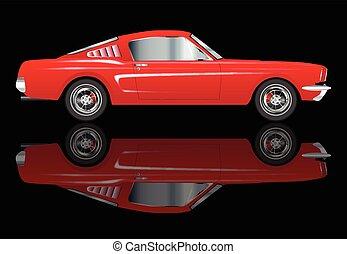 muy, coche, rápido, rojo